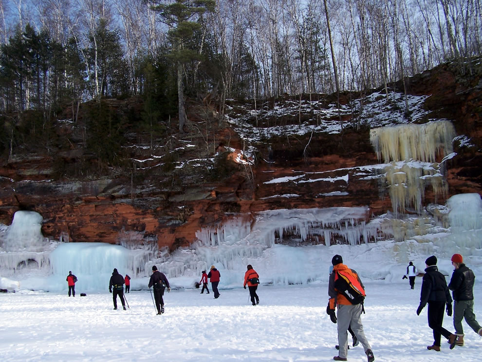 Hiking over the ice Apostle Islands National Lakeshore