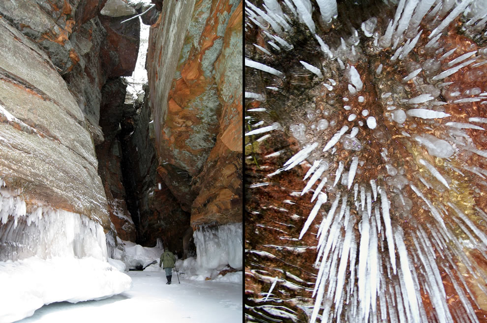 Ice Caves, the Crack and look up at icicles
