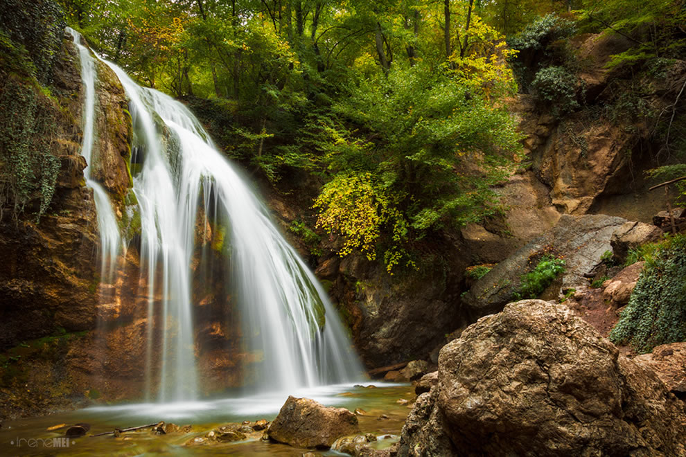 Autumn waterfall in the forest of Crimea