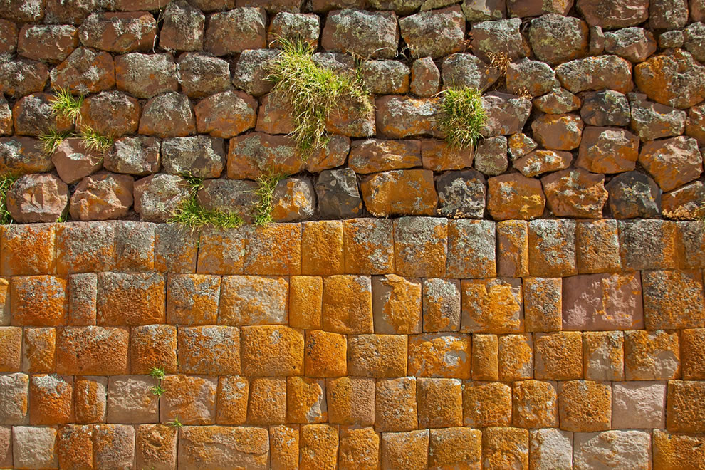 Varied color and texture of the stone walls, Sacred Valley and Incan Ruins, Pisac, Peru