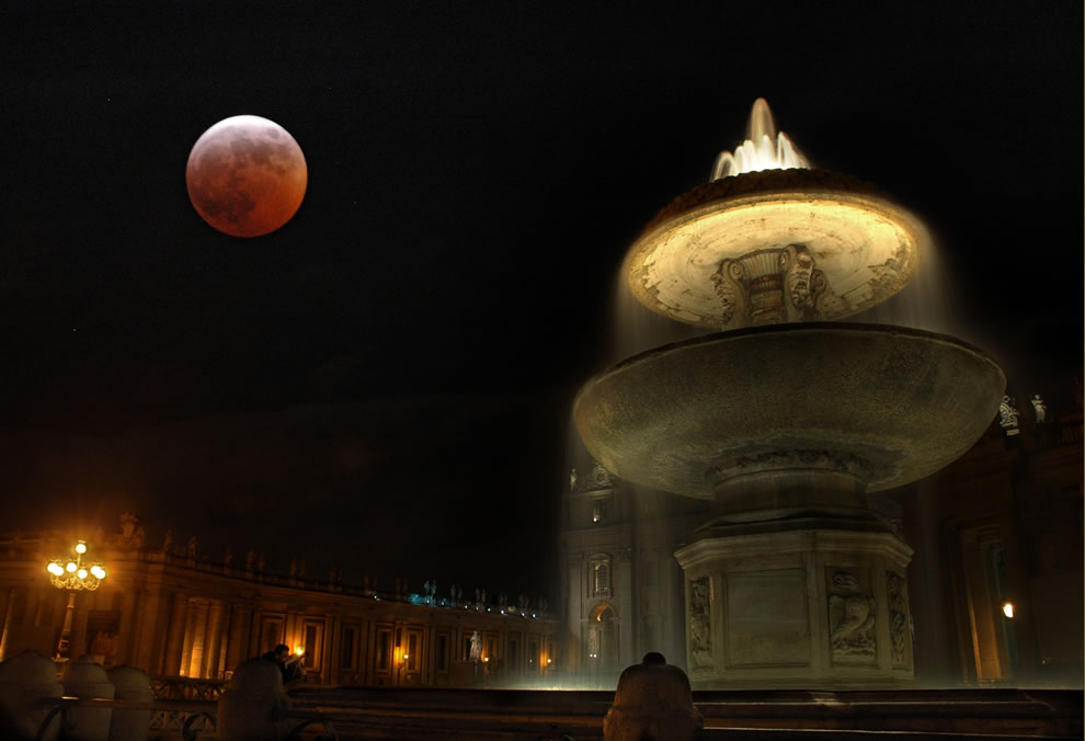 Blood Moon, lunar eclipse, over Vatican City in March 2008