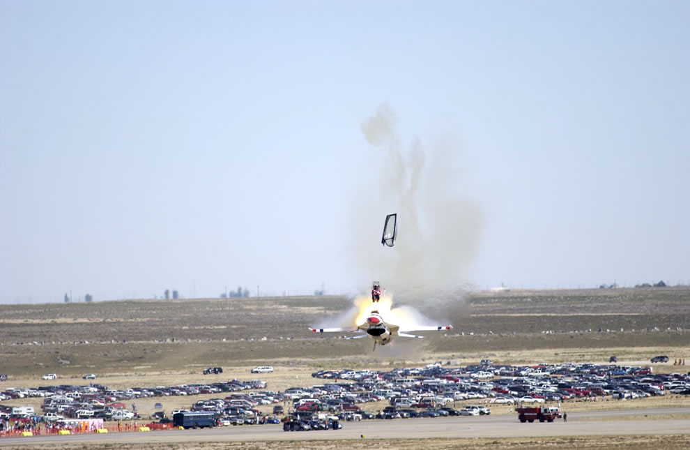 Capt Christopher Stricklin ejects from the USAF Thunderbirds number six aircraft less than a second before it impacted the ground at an air show at Mountain Home Air Force Base, Idaho