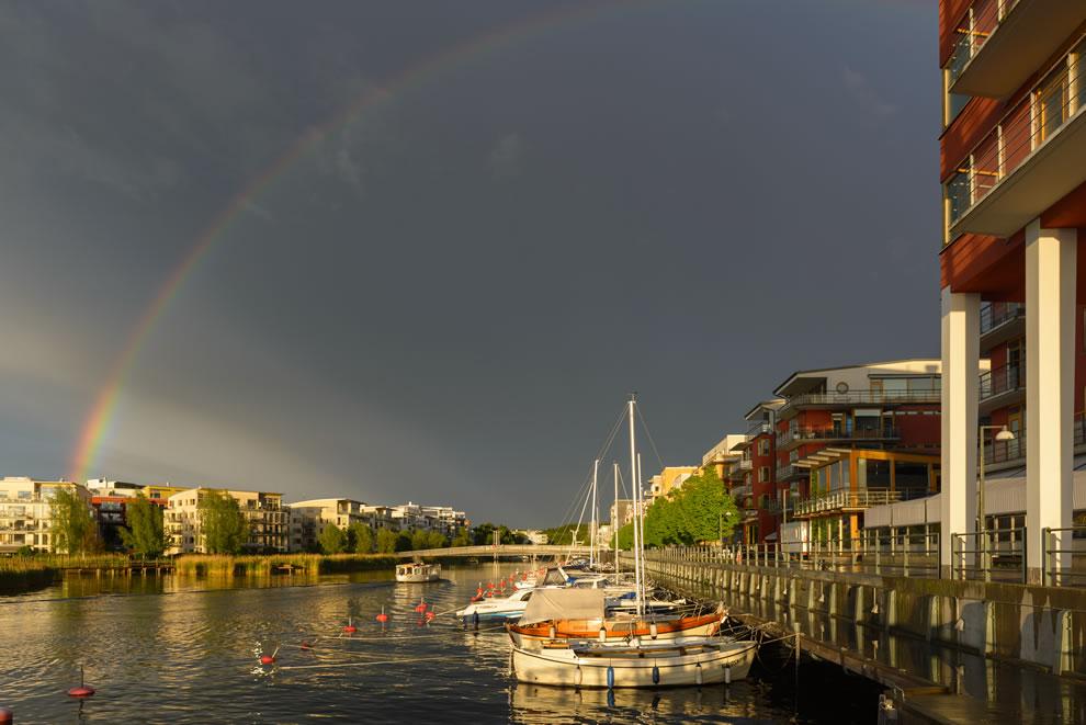 Rainbow over Sickla kaj, Södra Hammarbyhamnen, Stockholm