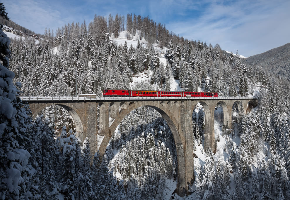 RhB Ge with a push–pull train crosses the Wiesen Viaduct between Wiesen and Filisur, Switzerland, 6th place