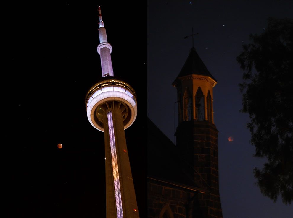 Total lunar eclipse, red moon, over CN tower and Christ Church