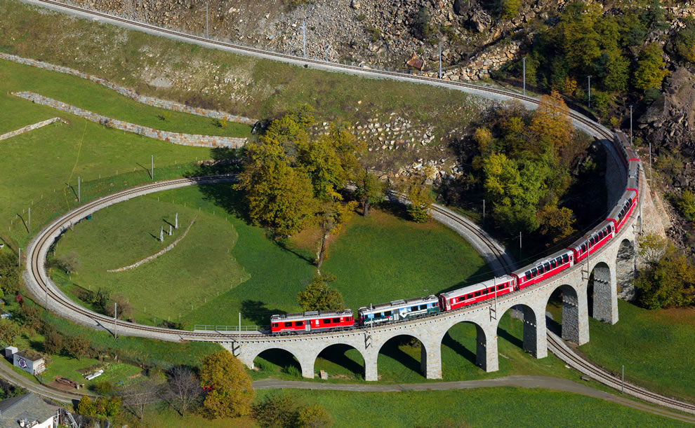 Train crossing the spiral viaduct near Brusio, Switzerland, fifth place winner