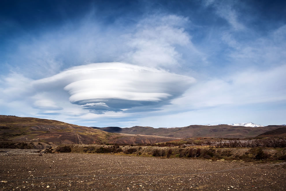 Lenticular clouds over Torres del Paine National Park