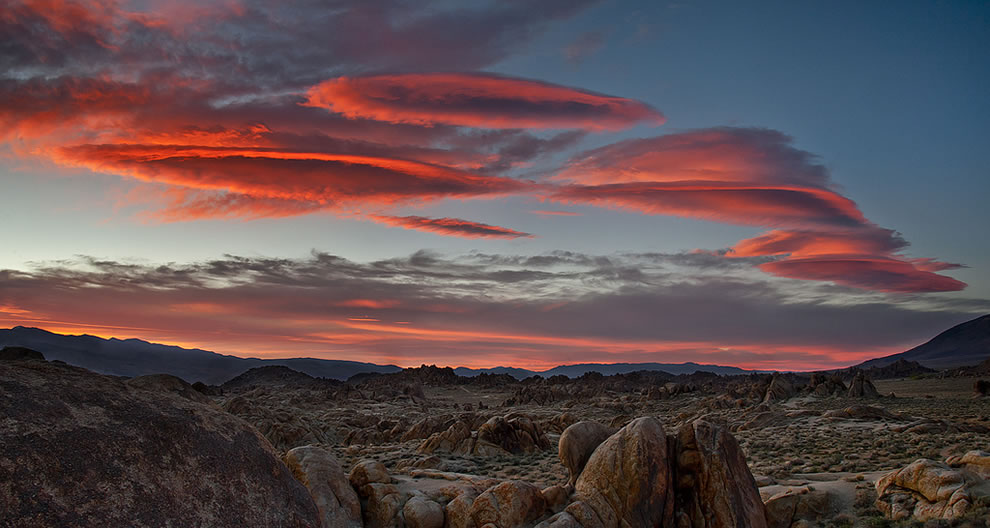 Lenticular clouds over the Alabama Hills at sunrise