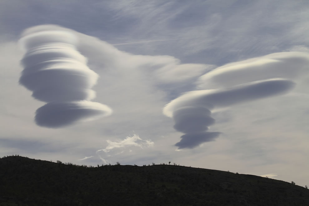 Lenticular clouds rising over Patagonia, Chile