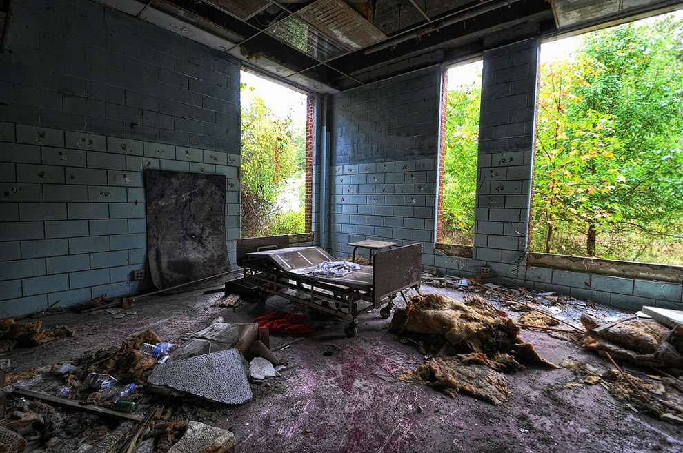 Lonely bed at abandoned Forest Haven