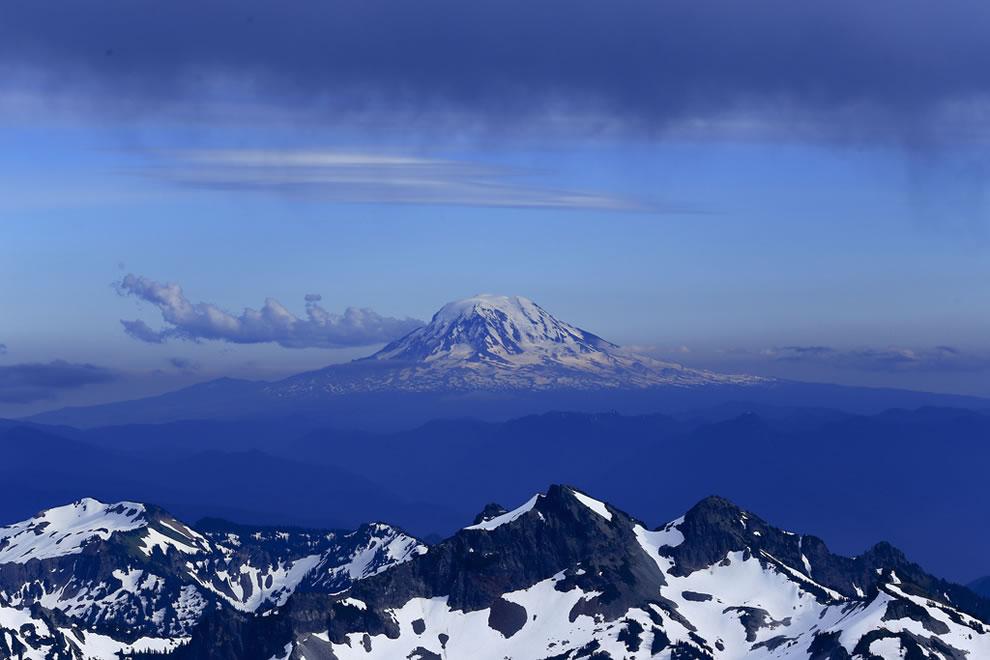 Mt Adams with lenticular cloud hat towering over Tatoosh range