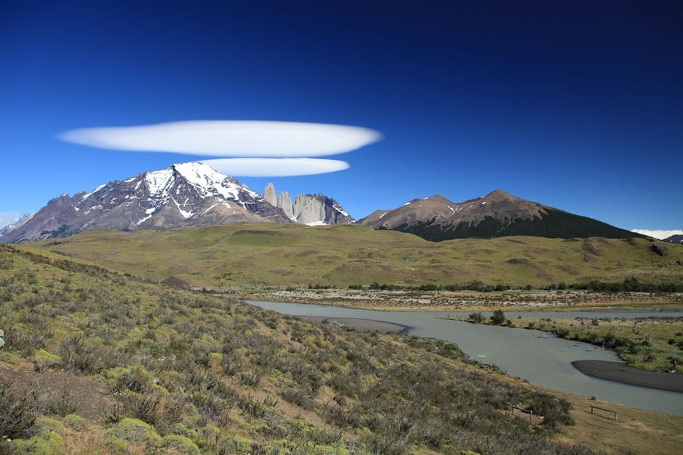 Torres del Paine National Park, lenticular clouds in Patagonia
