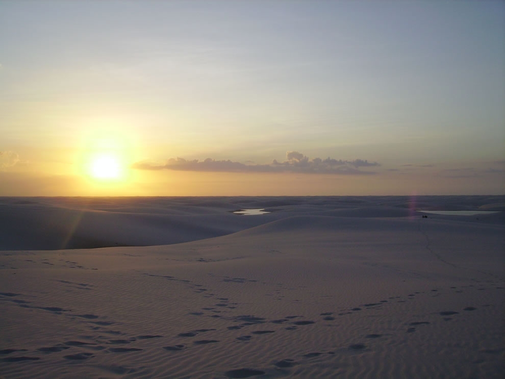 Sunset at Lençois Maranhenses, dune ecosystem in Brazil