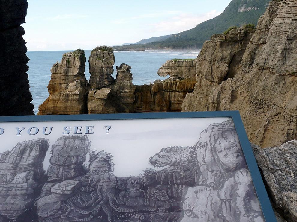 Finding shapes in the rock formations of Pancake Rocks