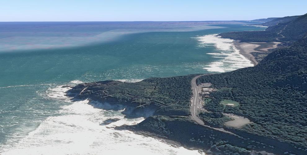 Tilt aerial of Pancake Rocks, Google Maps