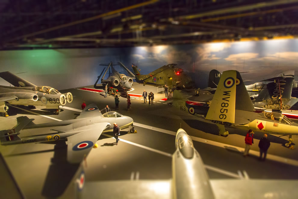 Aircraft Carrier, toy aircraft, tilt shift of Fleet Air Arm Museum