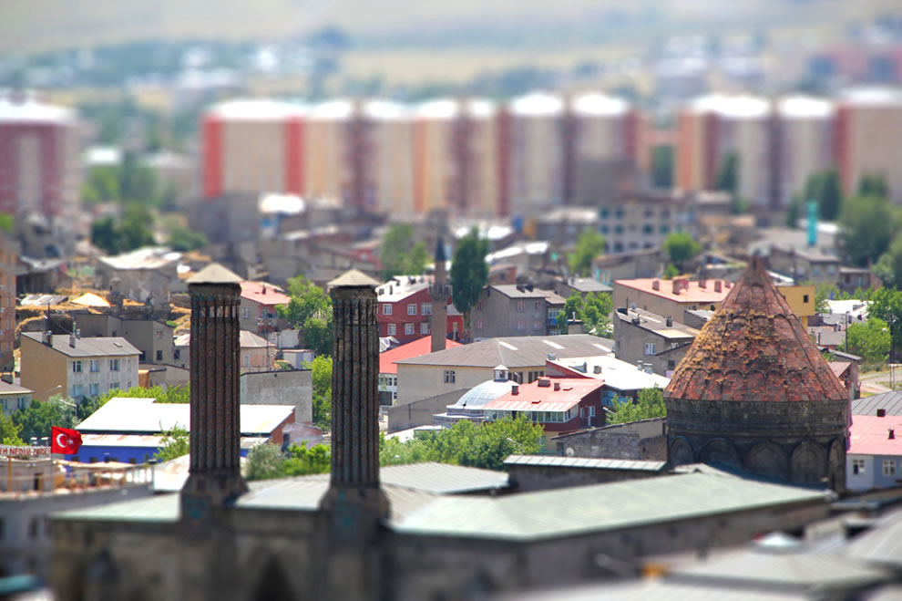 Double minaret tilt shift in Erzurum, Turkey
