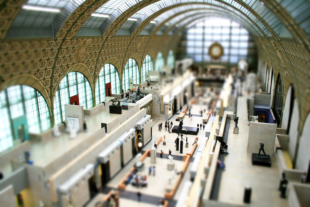 Musée d'Orsay, tilt shift of museum in Paris France