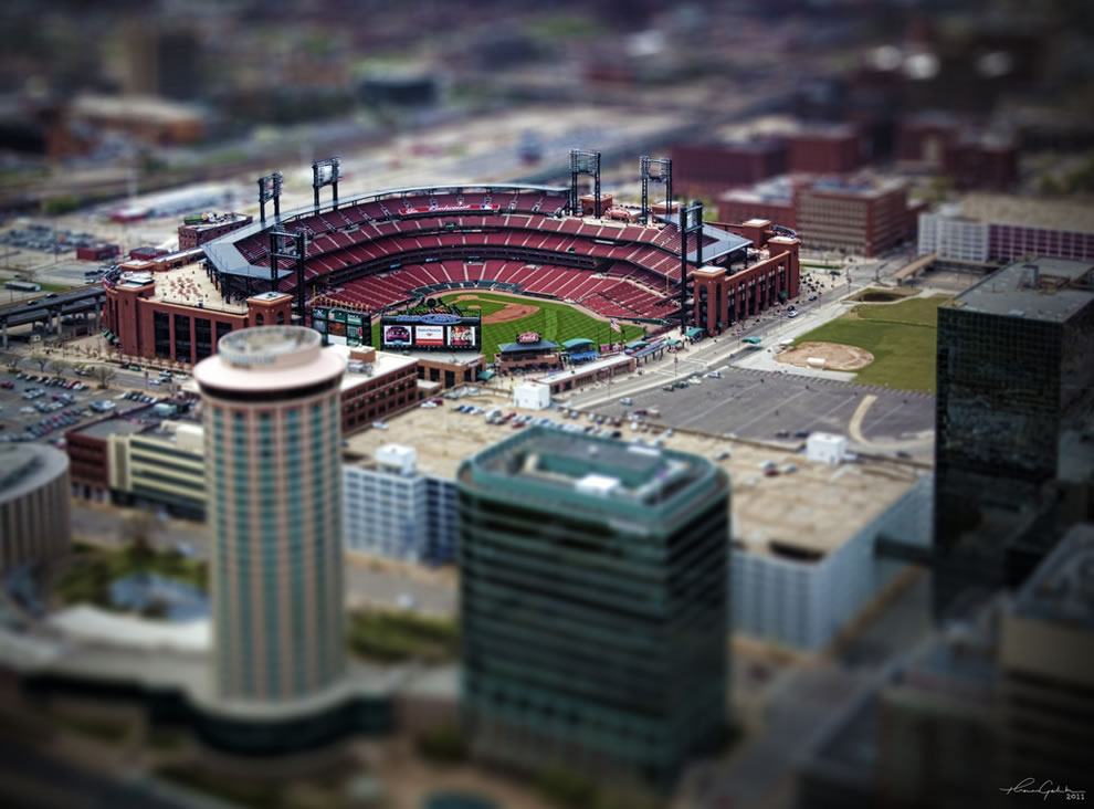 Saint Louis Busch Stadium in tilt shift miniature