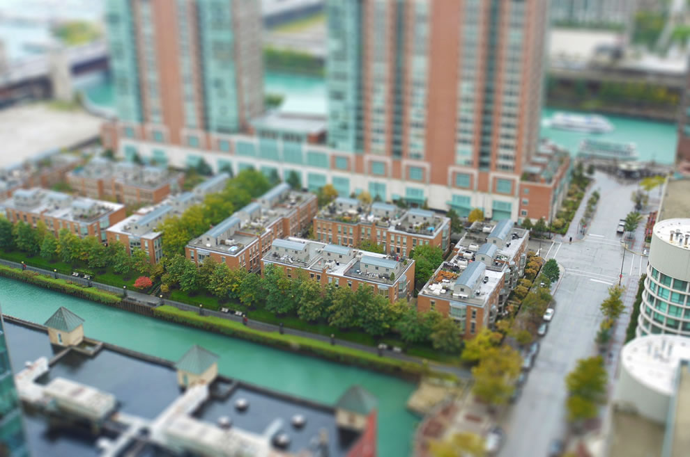 Tilt shift of Downtown Chicago