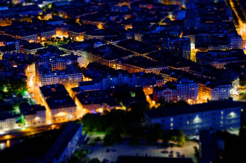 Tilt shift of Grenoble, France at night