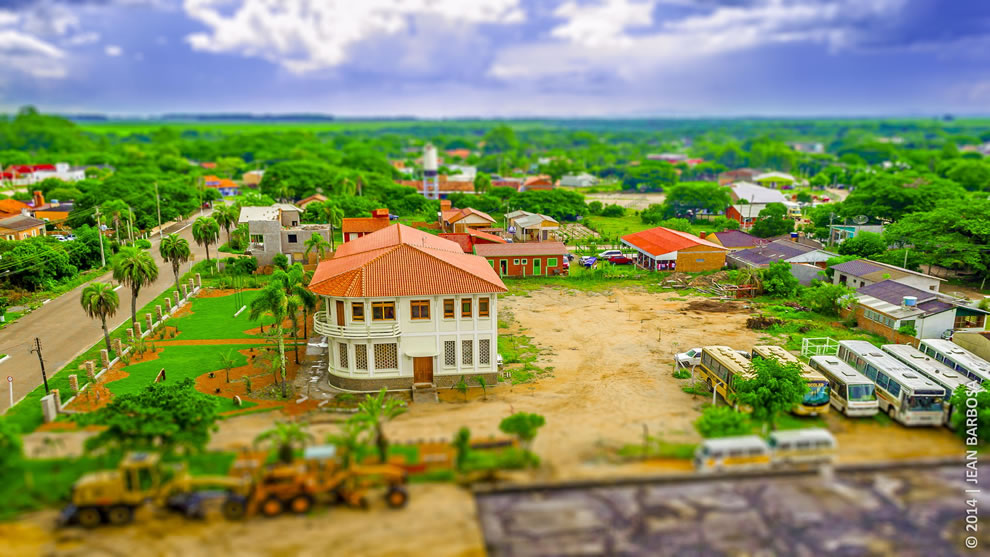 Tropical toy town, tilt shift landscape