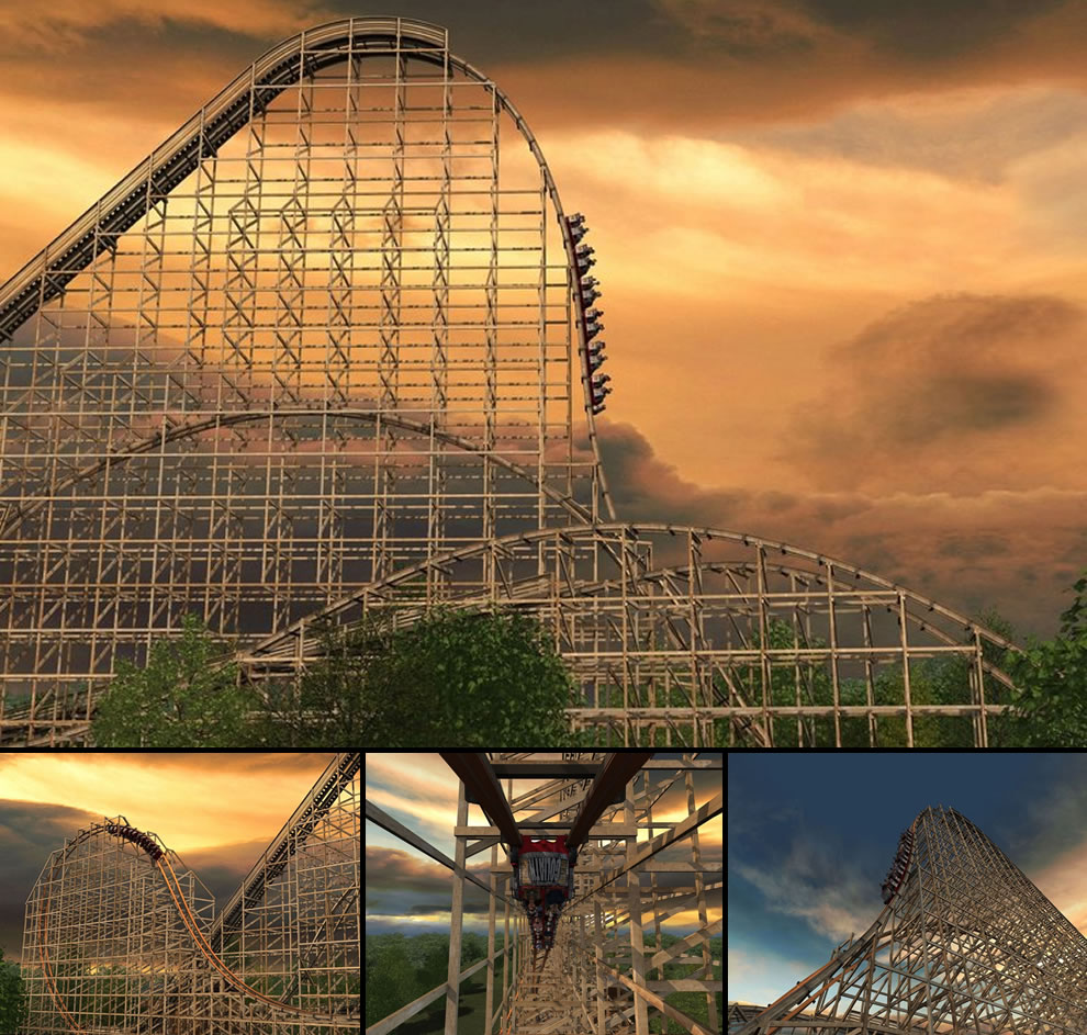 Goliath World's longest wooden roller coaster drop