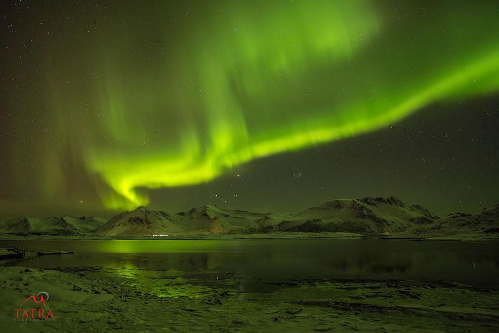 Northern Lights over Lofoten Islands Norway
