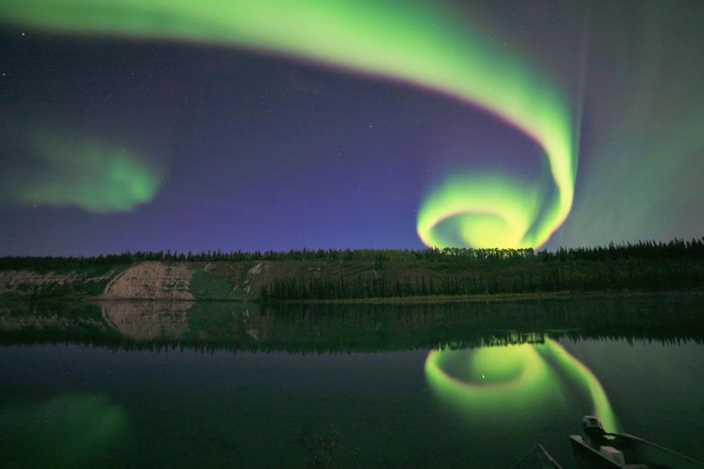 Spiraling Aurora Borealis