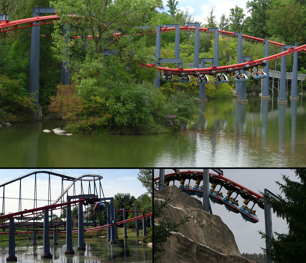 Vortex at Canada's Wonderland ranked 1st for a suspended roller coaster drop