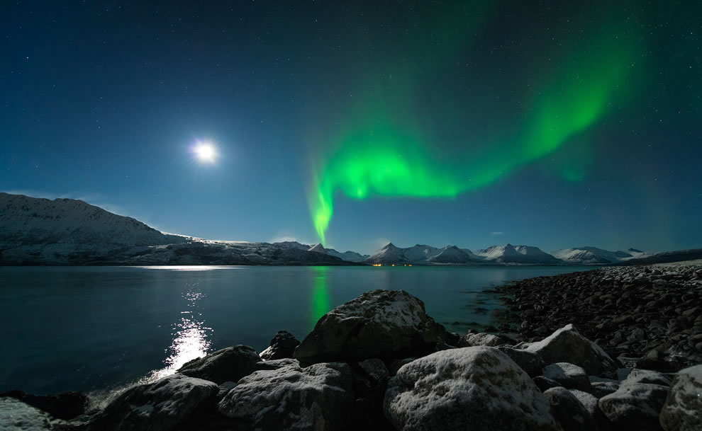 glorious Aurora Borealis and moonlight over Godfjorden