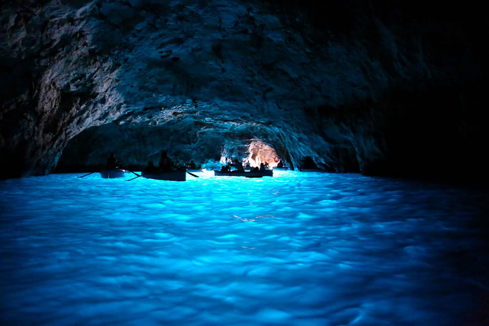 Boats in the Blue Grotto
