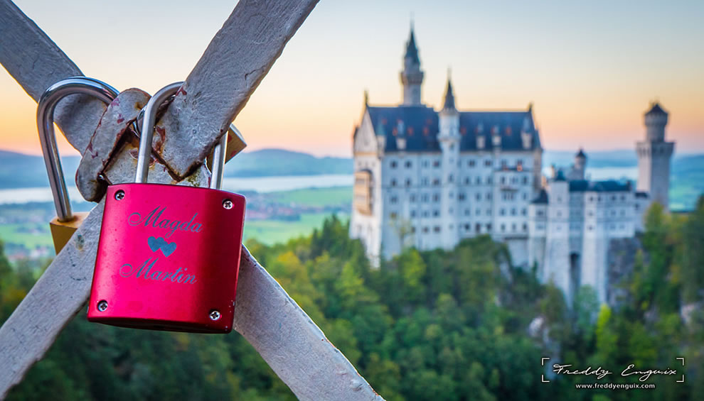 Castle of love, love padlocks in front of Neuschwanstein castle