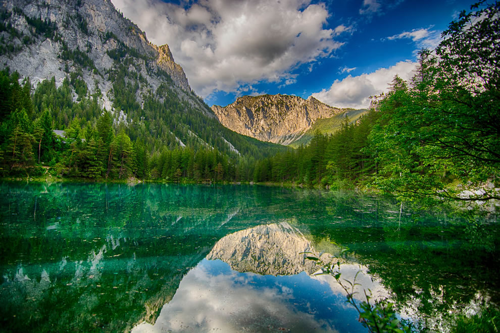 Green lake view of mountains