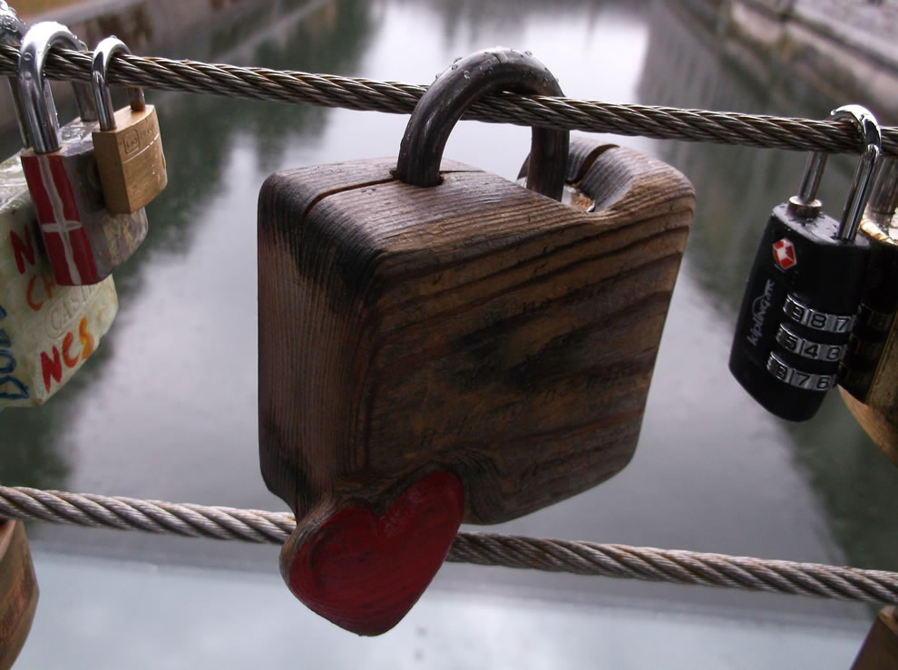 Large wooden love padlock on the bridge, Ljubljana Castle
