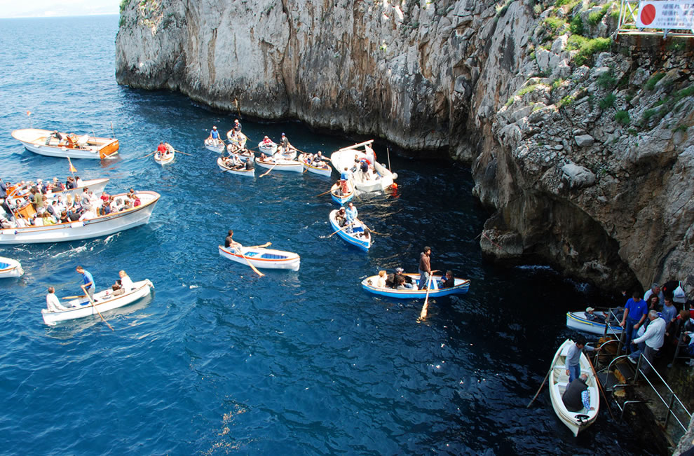 Lined up outside the Blue Grotto