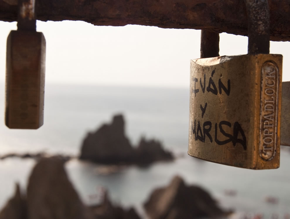 Love padlocks at Cabo de Gata-Nijar Natural Park in Spain
