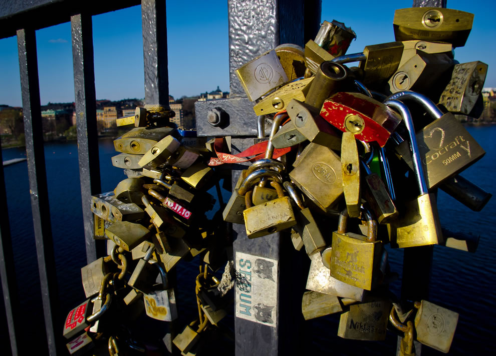 Love padlocks on Vasterbron bridge in Stockholm Sweden