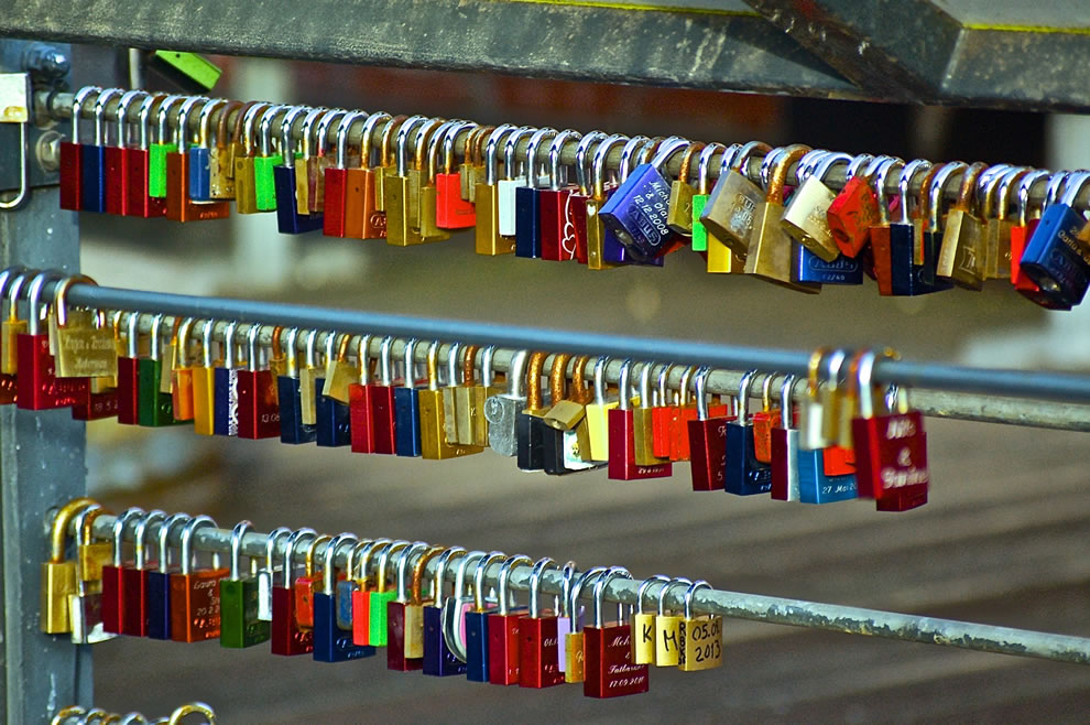 Padlock on a bridge in Luneburg Germany