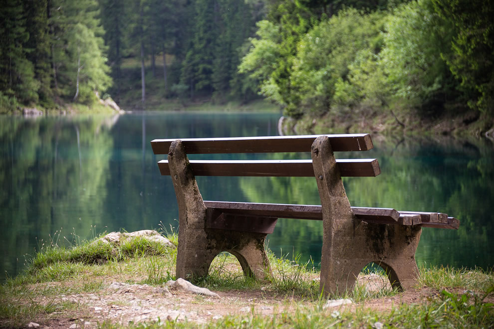 Park bench at Green Lake in Austria