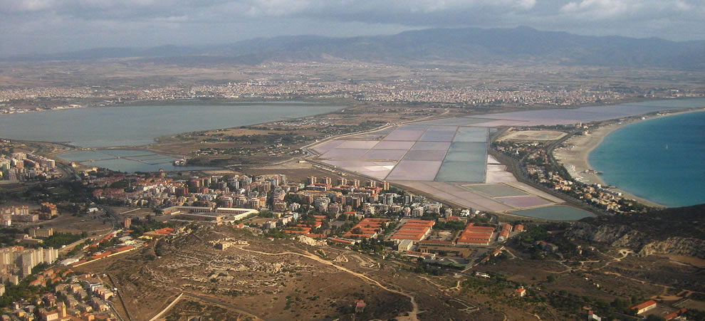 Aerial view of the salt pans of Cagliari Italy