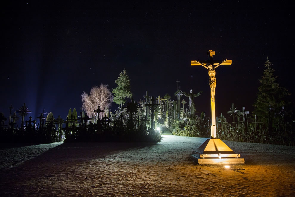 Hill of Crosses at night