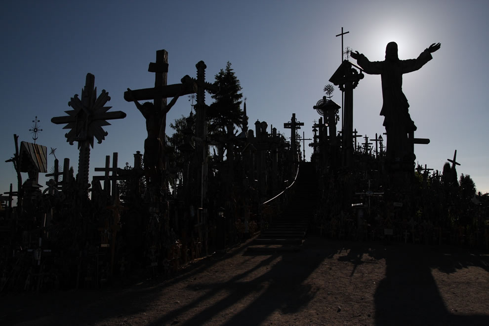 Hill of Crosses in sillouette