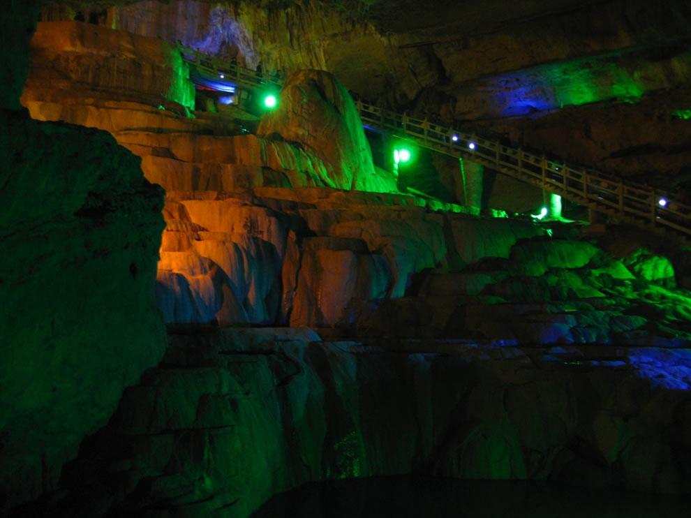 Jiuxiang Caverns limestone waterfall