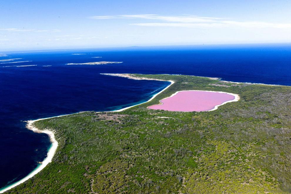 Lake Hillier, bright pink lake of Pepto-Bismol