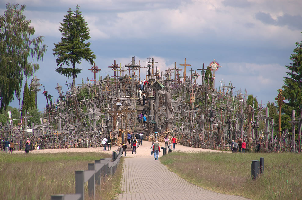 Pilgrams at the Hill of Crosses, Lithuania