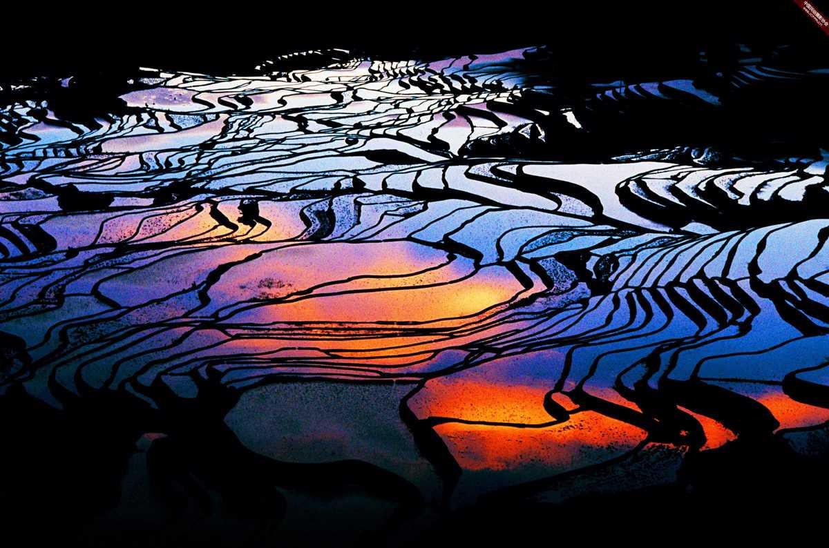 Rice terrace in Jingkou Village Kunming