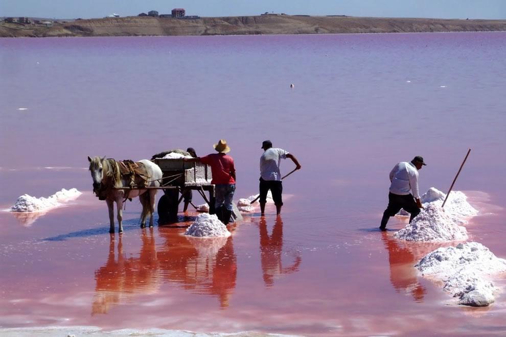Workers mining salt from Masazir Lake