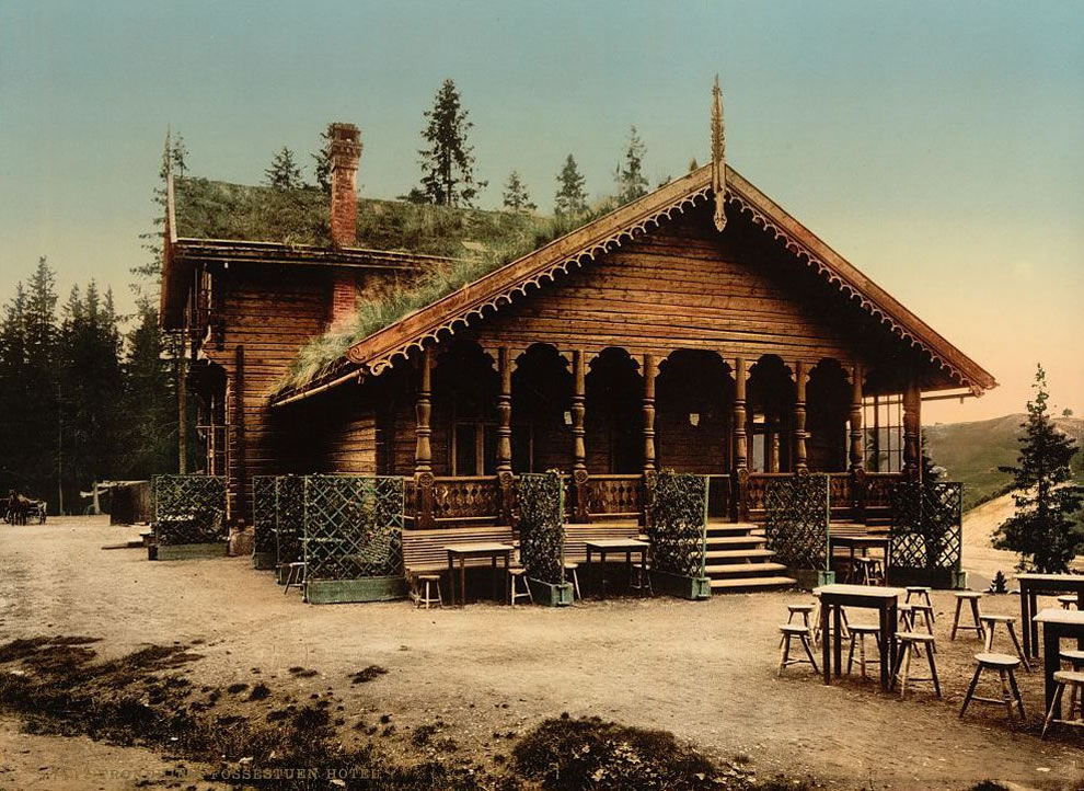 Fossestuen Hotel, Trondhjem, Norway color photochrom print from 1890-1900