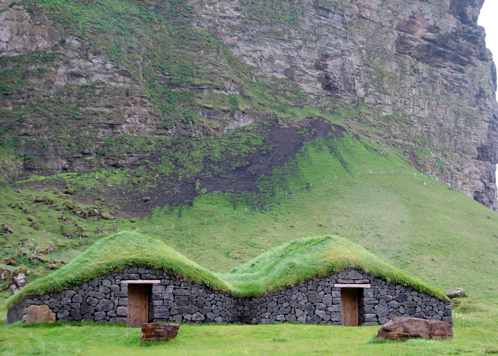 Houses with turf roofs on the island of Heimaey, Iceland